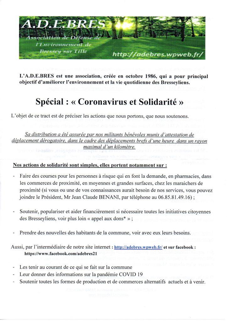 tract distribué aux habitants de Bressey